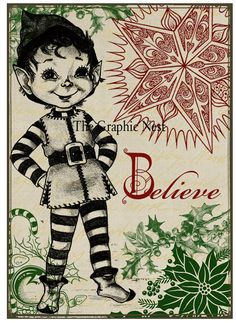 Vintage ATC-Weihnachtskarten. Digitaler download von TheGraphicNest