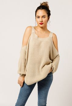 Azalea - Cold Shoulder Knit Sweater
