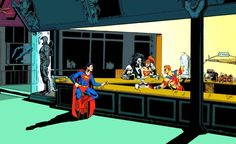 """Detail of Phil Jimenez's newsstand variant cover for Guy Gardner: Warrior #29, which is another homage to """"Nighthawks"""". (A..."""