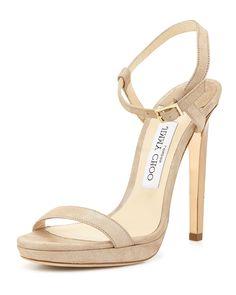 Claudette Shimmery Leather 120mm Sandal, Nude, Women's, Size: 38.5B/8.5B - Jimmy Choo
