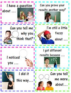 Love a good starter for students to use Math Talk! Teacher: Accountable Math Talk Stems for Students Math Classroom, Kindergarten Math, Teaching Math, Classroom Ideas, Teaching Strategies, Siop Strategies, Glad Strategies, Teaching Ideas, Classroom Helpers