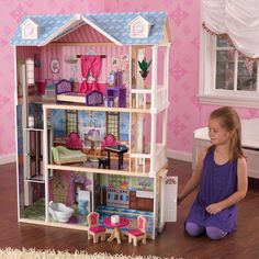 Girls Kids My Dreamy Wooden Dollhouse with 14 Pieces Furniture For Play #GirlsKidsUSA #Cottage