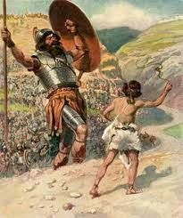 King David - Google Search  David kills Goliath with a sling and a stone.