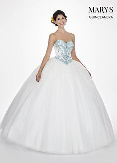 c3e50b51ed Marys Bridal Marys Quinceanera Dresses dress with Style - Fabric -  Tulle Glitter Tulle Lace and Color - Dark Champagne Aqua or White Aqua