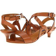 Brown Kitten Heel Sandals | Tsaa Heel
