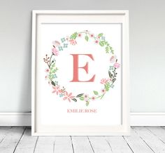 Flower Wreath Nursery Art  Printable by Classicology on Etsy, $7.00