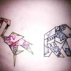 Some little origami designs I drew up last night #tattoodesigns #tattoo #tattoos…