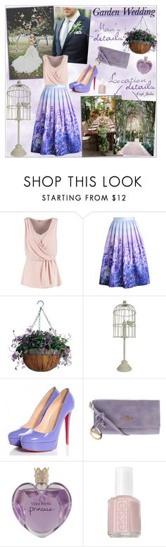 """""""Garden wedding"""" by cafejulia ❤ liked on Polyvore featuring Anna Field, Chicwish, Universal Lighting and Decor, Christian Louboutin, CMD, Vera Wang and Essie"""