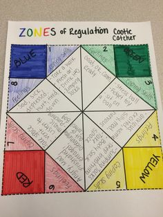 """Zones of Regulation """"Cootie Catcher"""" to help kids remember their coping skills and feelings in all four zones!"""