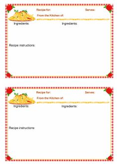 Thats Italian Recipe card templates for MS Word Kitchen