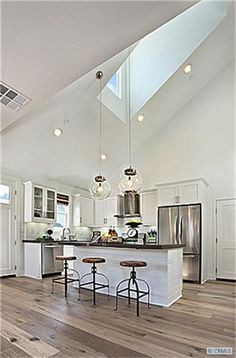 Contemporary + Industrial Kitchen Design With High Ceilings U0026 Skylight.  Home Decor And Interior Decorating Ideas