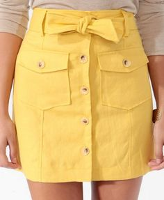 Yellow button up skirt