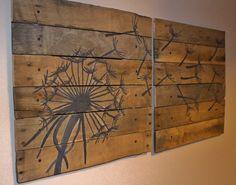 Dandelion,Pallet Art,21x21, 2 piece,Blowing Dandelion,dandelion Art,Dandelion Painting,rustic wall art,wood planks,reclaimed wood,flower art by RusticTreeHouse on Etsy https://www.etsy.com/listing/179507591/dandelionpallet-art21x21-2-pieceblowing