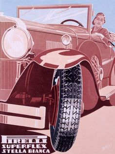 After we shared the beautifully quirky vintage animated ad for Pirelli we've had a few requests to share more of the same. So here are some print ads Pirelli commissioned for their various product lines. Vintage Italian Posters, Vintage Advertising Posters, Vintage Advertisements, Vintage Ads, Vintage Prints, Poster Vintage, Bike Poster, Poster Ads, Car Posters