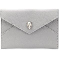 Alexander McQueen Skull Envelope Cardholder ($195) ❤ liked on Polyvore featuring bags, wallets, grey, skull bag, skull wallet, alexander mcqueen wallet, decorating bags and alexander mcqueen