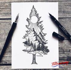 Except with birdseye as the mountain ❤ tattoo ideas idei tatuaje, t Sketch Tattoo Design, Tattoo Sketches, Drawing Sketches, Art Drawings, Tattoo Designs, Pencil Drawings, Drawing Ideas, Tattoo Illustrations, Drawing Designs