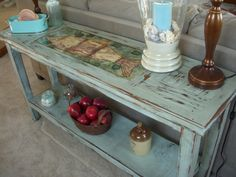 Wood Sofa Table - Shabby - Beach Cottage - Chic Furniture - Wooden Buffet Table - Reclaimed Wood. $800.00, via Etsy.