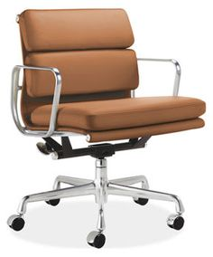 Eames® Aluminum Soft Pad Management Chair in Copper Leather by Herman Miller Special order item available within 6 weeks. $2,689.00