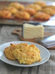 Low Carb Gluten-Free Cheddar Drop Biscuits - my family's favourite biscuits. Makes great pizza crust too!