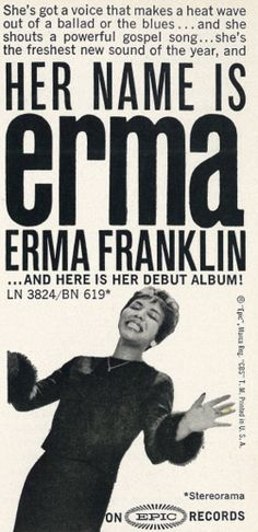 1962 ad for Erma Franklin's debut LP