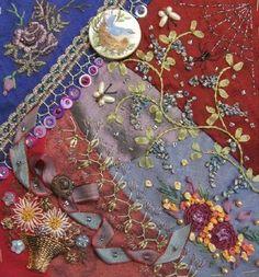 I ❤ crazy quilting, beading & ribbon embroidery . . . Ritva's block of Encrusted DYB, May 2013 ~By Hideko Ishida