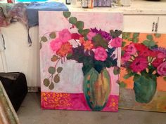 Class with Annie O'Brien Gonzales, my first two paintings!