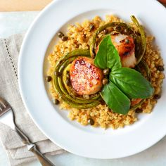 Diver Scallops with Grilled Garlic Scapes