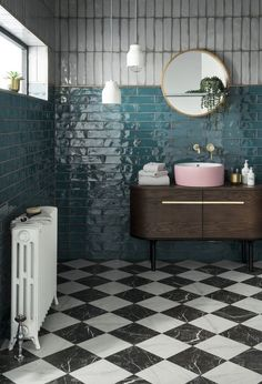 Let out your inner maximalist! We've paired our new Tile of the Year Lampas Peacock with our stunning Ruzzini chequered tile. It's bold but beautiful