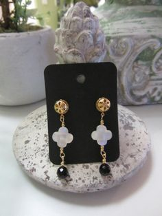 Mother Of Pearl And Onyx Gold Plated Beaded One by JKCustomDesigns