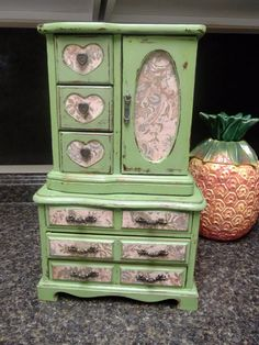 Jewelry Box Hand painted in Farmhouse Green Two piece by Eweniques, $99.00  --- I LOVE these painted & collaged jewelry boxes!!!