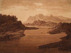 Alexander Cozens (1717-1786) Classical Landscape. Pen, ink and watercolour. 49x66cms. (Tate)