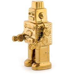 Gold Robot By Seletti Memorabilia Ornaments Retro Robot, Soapstone, Old And New, Robots, Objects, Porcelain, Vintage Fashion, Cool Stuff, Robot