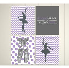 Nursery art, baby girl nursery, christian nursery art, chevron art, ballet art, polka dot nursery, grey purple nursery by PicabooArtStudio, $30.00