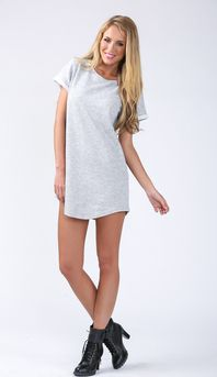 BOYFRIEND SHIFT DRESS IN GREY
