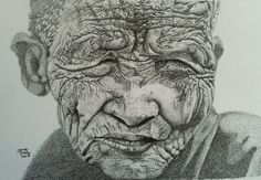 Pen and ink dots make up this picture of an old woman