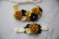 Wool Felt Flower Bib Necklace and Matching Headband Set - Navy Blue, Cream and Mustard Yellows- Open Tieback on Etsy, $39.50