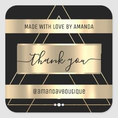 Thank You Shopping Custom Name Gold Black Vip Square Sticker Anniversary Party Favors, Wedding Anniversary, Luxury Store, Bridal Shower Favors, Love Is Sweet, Business Supplies, Custom Stickers, Keep It Cleaner, Vip