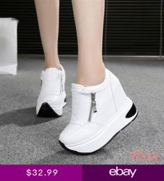 476a0c85be Womens Shoes Casual Sneakers Wedge High Heel Zip Platform Sport Creeper  Shoes Tenis Com Salto