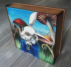 Wooden Box Rabbit Alice in Wonderland Hand by SweetenYourHome