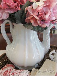 Red Cliff ironstone tea pot,,,CONFESSIONS OF A PLATE ADDICT: Ironstone and Grain Sack...A Vintage Farmhouse Centerpiece
