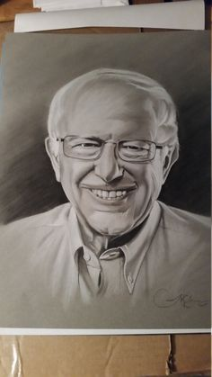 Original portrait Bernie Sanders 11 by 14 by JosephEdwardsArt on Etsy
