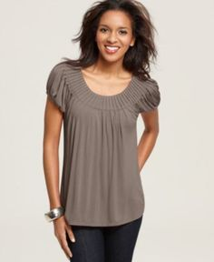 Style Top, Cap Sleeve Solid Pleated Collar - Womens Tops - Macy's