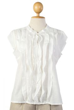 A  sophisticated ladies cotton blouse, made of finest cotton with slob specially made for this ultimate design. It has ruffles running from neck to the bottom. The cap sleeves and tiny bow closure at mandarin collar will make you look stunning on any occasion.