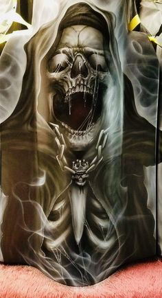 Grim Reaper Art, Grim Reaper Tattoo, Demon Tattoo, Skull Tattoo Design, Skull Tattoos, Arte Horror, Horror Art, Beautiful Dark Art, Sugar Skull Art