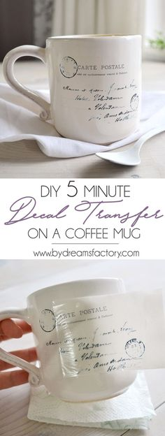 DIY 5 minute decal transfer on a coffee mug - learn how to quickly decorate your coffee mugs with your favorite images and make your mornings more chic and beau