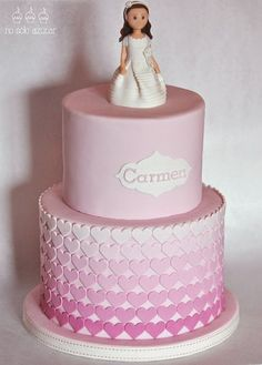 Ombre Heart First Communion Cake