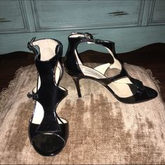 "Jimmy Choo Black Patent Heels Authentic Authentic Jimmy Choo black patent heels. Barely worn. Heels 2.5"". Strap across top of foot is adjustable too.❌Trades ❌PayPal❌ Jimmy Choo Shoes"