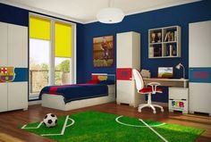 Kinderzimmer junge wandgestaltung fussball  ⚽ Fußballzimmer: Süsses Wandtattoo Fußballer | Wandgestaltung ...