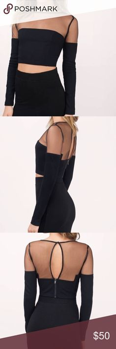 TOBI Mesh Leading Crop Top NWT, never been worn and sold out in stores! Designed by Tobi. The Mesh Leading Crop Top features a modern crop top with mesh detailing along the top half. Finished with slim keyhole in the back. Pair with slim high waist jeans for a modern look. Tobi Tops Crop Tops