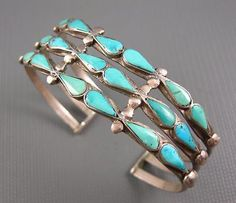 Vintage Zuni Sterling Carved Turquoise Teardrops 3 Row Cuff